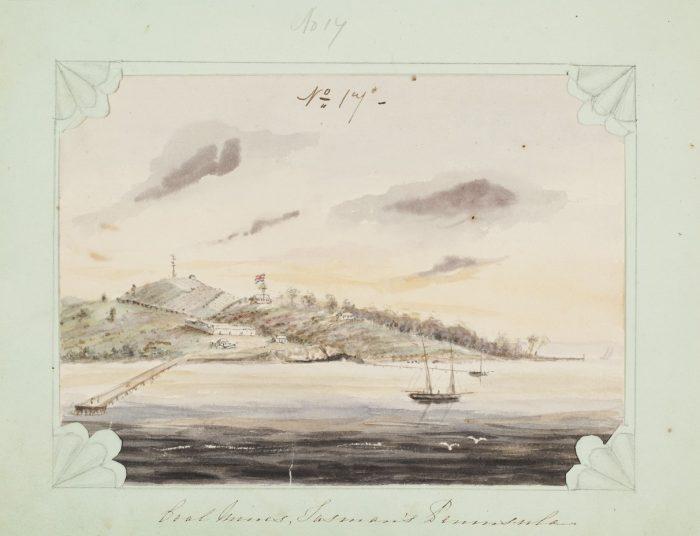 historic painting of coal mines, tasman peninsula